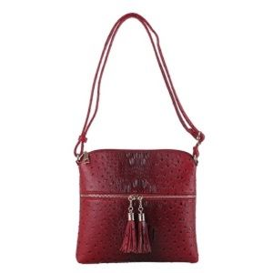 Faux ostrich croc embossed tassel crossbody purse